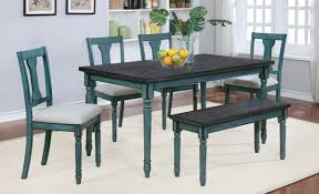 Teal And Smoke Finish Table 4 Chairs