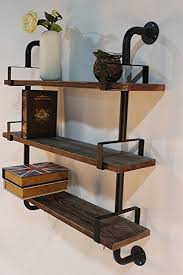 Reclaimed Wood Industrial DIY Pipes Shelves Steampunk Rustic Urban Pipe Shelf