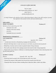 College Graduate Resume Samples