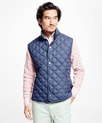 brooks brothers lightweight diamond quilted vest in blue for men