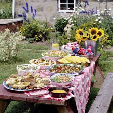 Add A Colourful Table Cloth With Lots Of Food Dishes And Cheerful