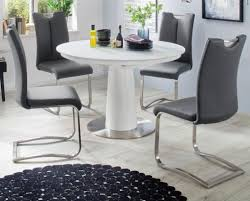 esstisch waris in matt weiß echt lack säulentisch rund mit synchronauszug ausziehbar 120 160 cm durchmesser