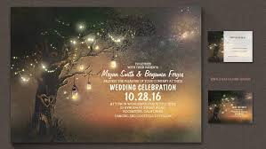 String Lights Tree Firefly Mason Jars Night Wedding Invitation
