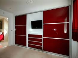 Sleek Red Fitted Wardrobe With LCD TV
