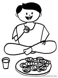 Indian Boy Eating Jalebi Sweets Coloring Page