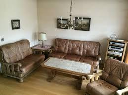 wohnzimmer couchgarnitur sofa leder eiche