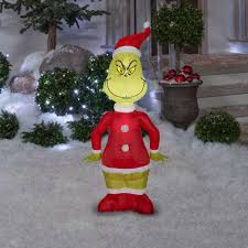 Grinch Blow Up Yard Decoration by 4 U0027 Airblown Inflatable Grinch Santa By Gemmy 110074 American Sale