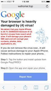 iPhone Virus Scam Pop Up