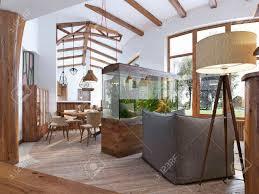 blick vom flur in das wohnzimmer mit einem aquarium im loft stil ein großes aquarium mit einem stuhl und eine stehle im wohnzimmer holzbalken an