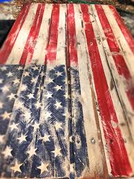Rustic Pallet Flag Distressed American Home