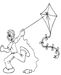 Summer Coloring Page Of A Boy Flying Kite