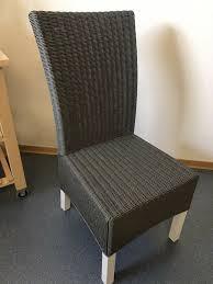 esszimmerstühle 4x rattan dänisches bettenlager grau