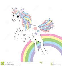 Download Animal Illustration With Cute Unicorn On Rainbow Background Stock