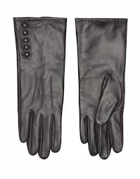 numph ruth long leather gloves in black