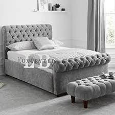 duke chesterfield bett mit kopfteil und fußteil luxuriös und strapazierfähig leben schlafzimmer möbel malia silver