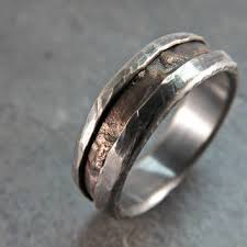 Rugged Bronze Silver Ring Rustic Wedding Engagement Mens