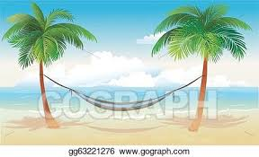 Vector Art Hammock and palm trees on beach Clipart Drawing