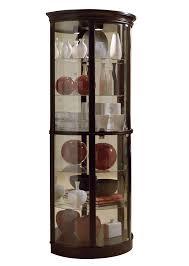 Pulaski Oak Corner Curio Cabinet half round curio cabinet in chocolate cherry ii by pulaski home