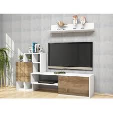 rinaldo tv schrank modern mit tueren regal einlegeboeden vom wohnzimmer weiss nussbaum aus holz pvc 160 x 30 x 78 2 cm