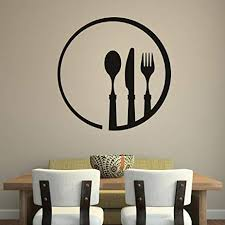 Cutlery And Plate Dining Room Utensils Wall Sticker Home Kitchen Decor Art Decal Available In 5