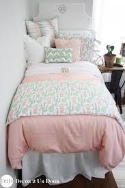 Peach & Green Cactus Designer Teen Girl Bedding Set