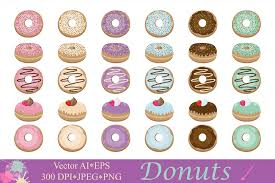 Donuts Clipart Doughnut Clip Art Dessert Illustrations Cute Sprinkled Donut Vector Graphics Example