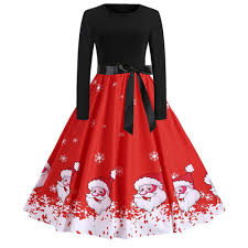2018 Christmas Dress Women Fashion Santa Claus Print Dress Long
