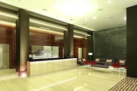 Front Desk Design Modern With Beige Floor And Beauty Lighting