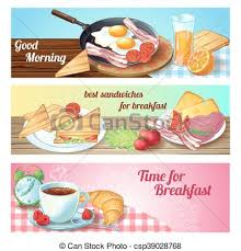Breakfast Banner Set Three Horizontal With