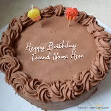 Chocolate Birthday Cake for Friend With Name