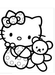 Hello Kitty Is Very Dear To Her Doll Coloring Page