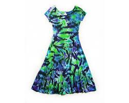 ladies tie dye dress short sleeve princess dress tie back