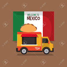 Taco Food Truck With Mexican Culture Related Icons Image Vector ...