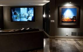 Living Home Theater Room Design Ideas Big Wall Tv Gray Colored Sofa Paint