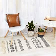 trxdm teppich baumwolle schwarz und weiß für küche badezimmer wohnzimmer waschküche mit gewebten quasten 2 x 4 außen matten boho floral
