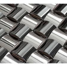 silver chrome stainless steel backsplash arched mosaic bravotti