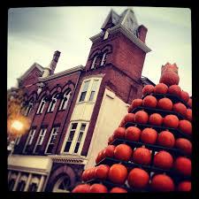 Pumpkin Festival Circleville Ohio 2 by A Three Story Tower Of Pumpkins At The Circleville Pumpkin Show