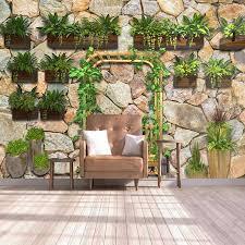 custom foto wandbild vlies tapete 3d grüne pflanze steine