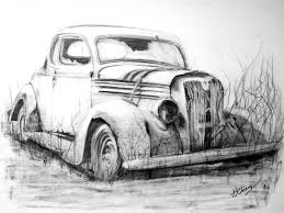 Old Abandoned Car Graphite Pencil Drawing Print From An