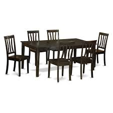 East West Furniture Henley 7 Piece Extension Dining Table Set With ...