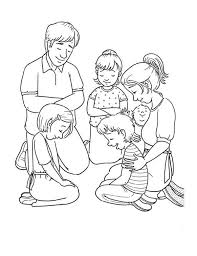 Family Member Of Praying Together Coloring Page