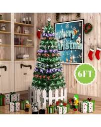 6FT Fiber Optic Artificial Christmas Tree W Stand Colorful LED Light Decorated
