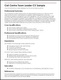 Team Leader Resume Leadership Example Call Centre Sample Ideas Collection
