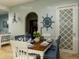 3drendering esszimmer im mediterranen stil mit esstisch und schrank daneben stockfoto und mehr bilder architektur