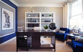 Beige Office With Royal Blue Accent Wall And Furniture