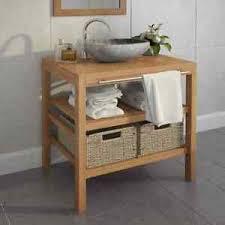 details zu vidaxl teak waschbeckenunterschrank 2 körbe waschtisch unterschrank badmöbel