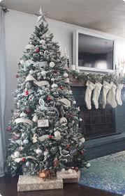Modern Take On A Traditional Red And White Christmas Tree With DIY Flocking Beautiful