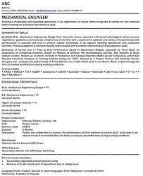 Resume Samples Mechanical Engineer X Sample For Freshers Engineers Pdf