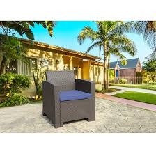 THPLUS Outdoor Resin Plastic Brown Sofa Patio Garden Furniture With Blue  Cushion Details About Outdoor Patio Lounge Chair Cushioned Weatherproof Polypropylene Resin Brown New Restaurant Fniture Wicker Ding Tables And Chairs Garden 2 Arm 1 Coffee Table Rattan Sofa Yard Set Gradient Us Stock Exciting White America Luxury Modern Contemporary Urban Design Dark Ideas Rialto 5piece Cast Alinum Black Sand 12 Top Gracious Living Photos Get Ready For Summer Danetti Lifestyle Classic Adirondack Rocker Assembly Required Polywood Coastal Folding Mahogany Kiwi Sling