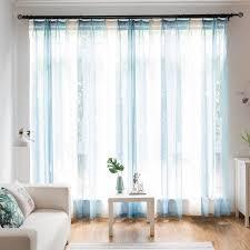 modern gardine hellblau streifen im wohnzimmer